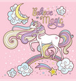 beautiful white unicorn long mane rainbow text vector image vector image
