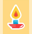 burning candle in red cap in white faming vector image vector image