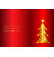 christmas background greeting cards gold tree vector image