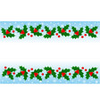 christmas holly leaves decorative banner frame vector image vector image