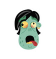 comic zombie head icon in cartoon style vector image vector image