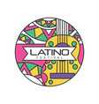 creative round-shaped logo for latino festival vector image