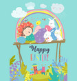 cute girl with easter rabbits and easter eggs vector image vector image