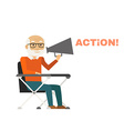 Director sitting on chair with megaphone vector image