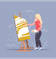 female painter using paintbrush and palette woman vector image