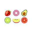 fresh fruits and vegetables set apple tomato vector image vector image