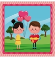 girl balloons heart boy gift valentine day rural vector image vector image
