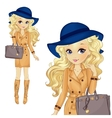 Girl In Blue Hat And Classic Bag vector image vector image