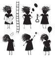 girl silhouette character traits clip art vector image vector image