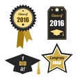 Graduation logos set Gold black Class of 2016 vector image vector image