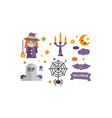 halloween icons set witch candlestick vector image vector image