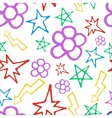 Hand drawn pattern with flowers and lightning vector image