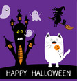 Happy halloween spooky frightened cat holding