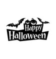 happy halloween text banner with a bat vector image
