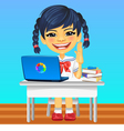 Happy smiling Asian schoolgirl vector image