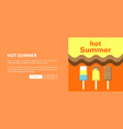 hot summer web posters set with ice cream vector image
