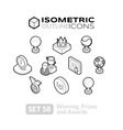 Isometric outline icons set 58 vector image