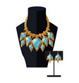 jewelry set necklace precious blue stones on black vector image vector image