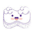 kawaii sponge with bubbles of soap in purple vector image