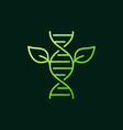 leaves with dna green outline icon or sign vector image vector image