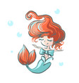 little mermaid with bow happy floating in water vector image