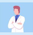 male doctor character sitting at desk medical vector image vector image