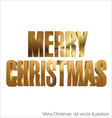 Merry Christmas 3d golden text vector image