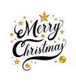 merry christmas hand drawn lettering with golden vector image