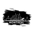 montreal skyline silhouette hand drawn sketch vector image vector image