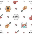 Music seamless pattern Rock festival vector image vector image