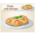 pasta with shrimps cartoon icon vector image vector image