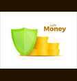protection money concept 3d shield saving dollar vector image vector image
