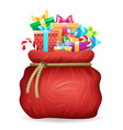 santa gifts bag year xmas isolated vector image