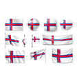 set faroe island flags banners banners symbols vector image vector image
