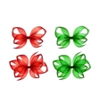Set of Colored Green Red Gift Bows on Background vector image vector image