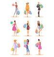 set of isolated women with bags after shopping vector image