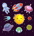 space fashion patch badges with planets vector image vector image