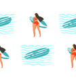 surfing in girl surfers in vector image