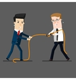 two businessmen in a tug of war battle for vector image vector image