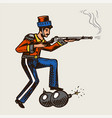 vintage military man with a bomb and a gun vector image