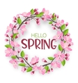 Watercolor sakura wreath Natural round frame with vector image vector image