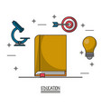 white background poster of education with book in vector image vector image