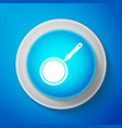 white frying pan icon isolated on blue background vector image vector image