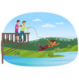 woman doing bungee jumping with the friends vector image vector image
