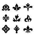 decorative floral elements black for design vector image
