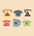 antique telephones handset connection retro style vector image