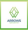 arrow rhomb line logo infinity cube vector image vector image