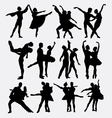Ballet couple dance posing silhouette vector image vector image