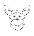 black and white cute enamoured fennec fox who vector image vector image