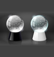 black and white snow globe empty template vector image vector image